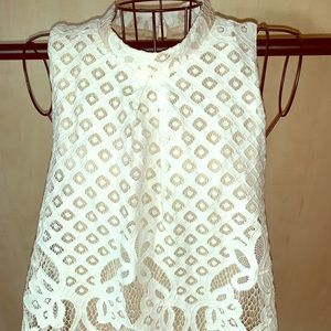 Lace high neck tank top
